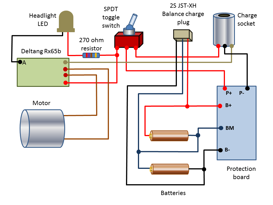 lithium ion battery protection boards example of complete wiring for a loco a 2s battery pack